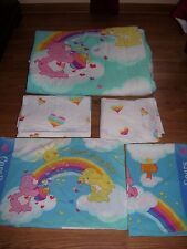 VTG Care Bears Bedding Set Twin Comforter Flat Fitted Sheets 2 Pillow Cases HTF