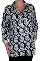 Womens Printed Casual Long Sleeve Collared Fashion Hip Length Blouse Shirt Top