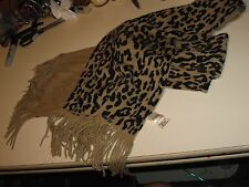"70"" Golden Brown & Black Leopard Neck Scarf  Winter Ladies"