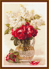 "'ROSES AND LILACS' Cross Stitch Chart (12½""x18¼"") Flowers/Detailed FREE UK P&P"