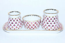Russian Imperial Lomonosov Porcelain Spice set Net Blues 22k Gold Rare Russia