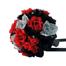 "Black,Red,Silver-10"" Bridal bouquet-silk flower wedding"