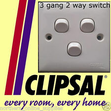 Clipsal 3 gang 2 way Switch lighting 250V 10A WHITE NEW UK SELLER