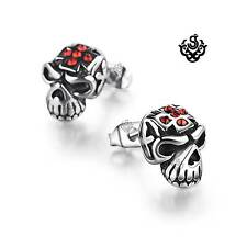 Silver stud red swarovski crystal stainless steel skull earrings soft gothic