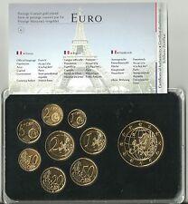 Frankreich KMS Euro-Prestige Coinset 1c-2 Euro in Luxusvariante,24 karat Gold