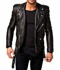 Men Leather Jacket Black New Slim fit Biker genuine lambskin jacket