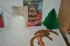 AMBASSADOR HOLIDAY HAPPINESS CENTERPIECE CHRISTMAS TREE WHITE BELL paper doll