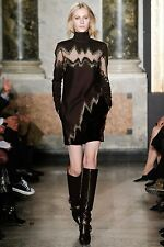 EMILIO PUCCI RUNWAY SHEER PANEL LUREX JACQUARD BROWN SUEDE DRESS IT 40
