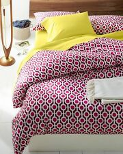 NEW Garnet Hill Queen Double Duvet Cover Set w/ 2 Shams Pink Beaujolais Geo Red