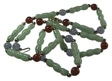 Multi-Color Jade 14k Solid Yellow Gold Bamboo Link Necklace