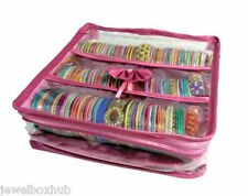 3 roll pink satin design Bangle Watch Bracelet jewelery Travel Case Bag cover