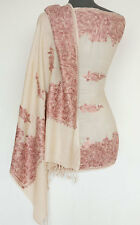 Crewel Embroidered Wool Shawl Kashmir Paisely Pashmina Champagne Rose Ari Stole