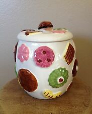 Vintage Napco All Over Cookies Cookie Jar With Walnut Lid Excellent Condition