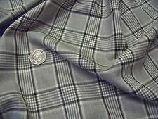 ENGLISH WOOL CHECK  SUITING-IVORY/BLACK/GREY-SUITING FABRIC -FREE P+P