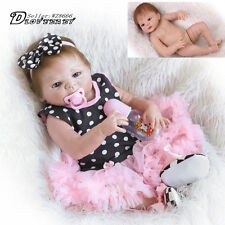 Handmade Full Silicone Body Baby Dolls Newborn Vinyl Reborn Lovely Girl Doll 23""