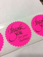 """250 Thank You For Your  Business 2"""" STICKER Starburst PINK NEON NEW THANK YOU"""