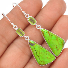Australian Gaspeite & Peridot 925 Sterling Silver Earrings Jewelry SE126940