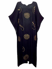 eaonplus Batik Print Kaftan Dress Black / Gold PLUS SIZE 18 to 24 (Freesize)