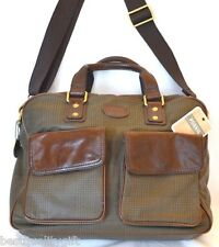 NEW FOSSIL GREEN PLAID+BROWN LEATHER TRANSIT WORK BRIEFCASE,CROSSBODY,BAG