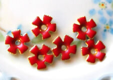 #902 Vintage Enamel Flower Beads Cabochons Red Spacer Flowers Metal Gold Plated