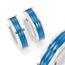 Unisex Huggie Earrings in Stainless Steel Ocean Blue Hoop Design 10mm
