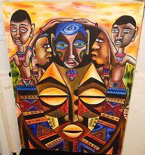 JOHN B.MAINGA AFRICAN PEOPLE ORIGINAL OIL ON CANVAS PAINTING