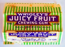 Original Vintage 1923-24 Wrigley's Chewing Gum Juicy Fruit Wrapper 1 Stick