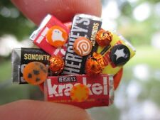 Dollhouse Miniatures ~ Handmade Orange Trick-or-Treat Candy Bowl with Chocolates