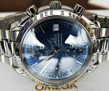 RARE OMEGA MENS SPEEDMASTER BOX/PAPERS AUTOMATIC/DATE TRIPLE BLUE DIAL,3511.80