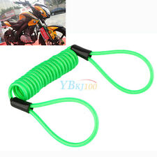 1x Motorcycle Scooter Alarm Disc Lock Security Spring Reminder Green Cable Kit