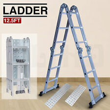Purpose 12.5FT Aluminum Multi Folding Step Ladder Extendable w/Platform Scaffold
