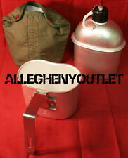 3 Piece GI WW2 Type Aluminum 1 QUART 1QT CANTEEN w FOLDING HANDLE CUP & COVER