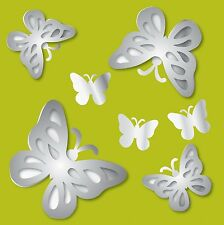 MIRROR ArT 3D BUTTERFLY Wall Stickers 7 Butteflies Room Decor Decals Girls BR2