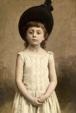Excellent Oil painting lovely and cute little girl standing in white dress NICE