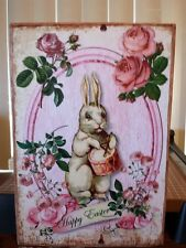 Vintage Wooden Sign Happy Easter Chic Shabby Bunny Pink Roses