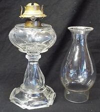 Antique FINDLAY Clear Glass BEADED QUEEN HEART Pattern OIL LAMP Complete