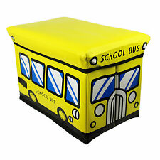 Toy Box Storage Chest Kids Childrens Padded Seat Trunk Cushioned School Bus
