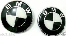 2pcs 82+74mm BMW Black White emblem set hood trunk e46 e60 e61 e90 e91 e70