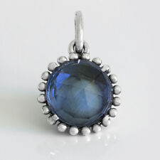 BLUE Solid Sterling Silver Faceted Midnight Stone Charm Bead or Necklace Pendant