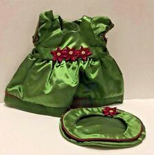 American Girl Holiday Outfit Bitty Baby Doll Green Dress Beret Hat Poinsettia