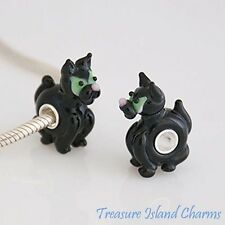 BLACK HALLOWEEN CAT MURANO GLASS .925 Sterling Silver EUROPEAN EURO Bead Charm