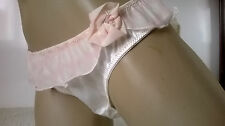 Ladies Cute Ivory Silky Satin n Sheer Bikini Panties Frilly Skirt Knickers   M