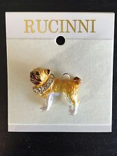 PUG DOG RUCINNI Brooch Lapel Pin Swarovski Crystal Collar Green Eyes Gift Item