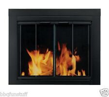 Pleasant Hearth Glass Fireplace Bi-fold Door Ascot Black Large Screens AT-1002