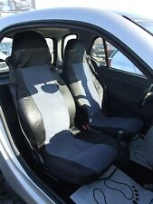 1+1 GREY-BLACK FABRIC SEAT COVERS TAILORED FOR SMART CITY COUPE FORTWO