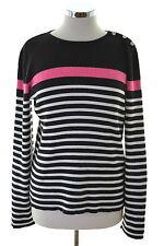 Ralph Lauren para Mujer Suéter Talla 16 XL Negro Rayas de Algodón