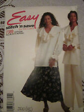 stitch 'n save 7389 EASY MISSES' TOP TUNIC BLOUSE FLARED SKIRT Pattern SZ 8-14