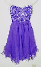 Short Purple Strapless Dress Size 4 Beaded Sequins Evening Formal Prom Gown