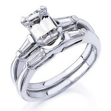 Real 1.53 Ct. Emerald Cut Diamond Engagement Ring Set