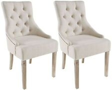 2 x Stella Button Back Chairs in Cream by Rowico With Reclaimed Wooden Legs